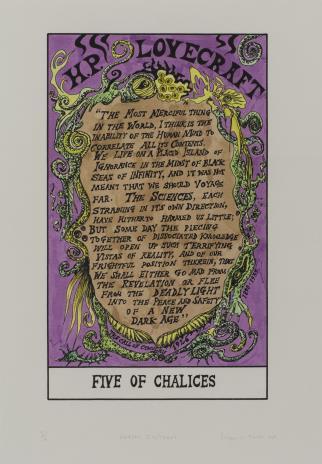 Suzanne Treister, HEXEN 2.0/Tarot/Five of Chalices - H. P. Lovecraft / HEXEN 2.0/Tarot/Piątka Kielichów - H. P. Lovecraft