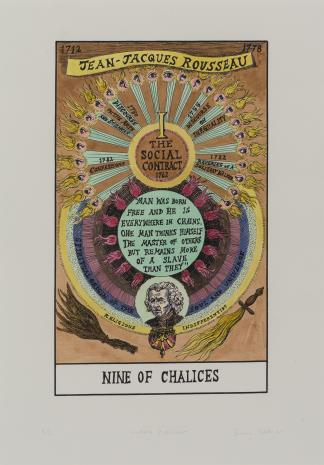 Suzanne Treister, HEXEN 2.0/Tarot/Nine of Chalices – Jean-Jacques Rousseau / HEXEN 2.0/Tarot/Dziewiątka Kielichów - Jean-Jacques Rousseau