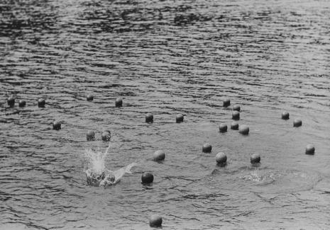 Zorka Ságlová , Dokumentacja działania zatytułowanego: Házení míčů do průhonického rybníka Bořín /Rzucanie piłek do jeziora Bořín w Průhonicach