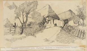 Droga wiejska w Szumsku (ziemia Krzemieniecka), z cyklu: Rysunki z Podola, lata 30-te XX wieku