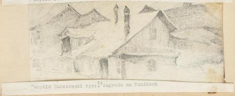 Leopold Buczkowski, Zagroda na Tunikach, z cyklu: Rysunki z Podola, lata 30-te XX wieku