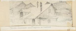 Zagroda na Tunikach, z cyklu: Rysunki z Podola, lata 30-te XX wieku