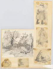 Architektura z Wiśniowca (Krzemienieckie) / rysunki dziadów ze świąt na