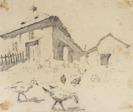 Leopold Buczkowski, Plac przed Bóżnicą, z cyklu: Rysunki z Podola, lata 30-te XX wieku