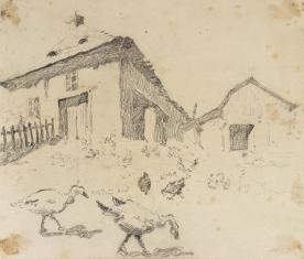 Plac przed Bóżnicą, z cyklu: Rysunki z Podola, lata 30-te XX wieku