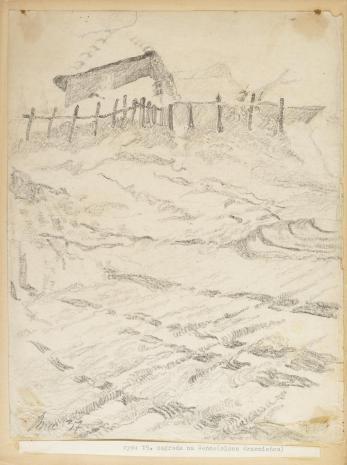 Leopold Buczkowski, Zagroda na Seńce (okolica Krzemieńca), z cyklu: Rysunki z Podola, lata 30-te XX wieku