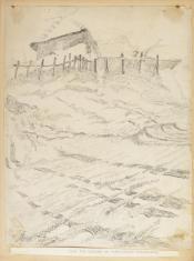 Zagroda na Seńce (okolica Krzemieńca), z cyklu: Rysunki z Podola, lata 30-te XX wieku