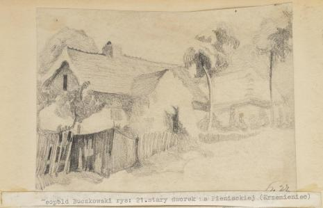 Leopold Buczkowski, Stary dworek na Pieniackiej (Krzemieniec), z cyklu: Rysunki z Podola, lata 30-te XX wieku