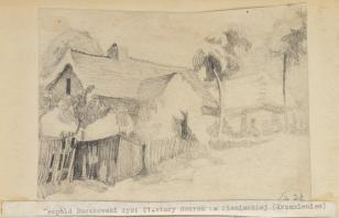 Stary dworek na Pieniackiej (Krzemieniec), z cyklu: Rysunki z Podola, lata 30-te XX wieku