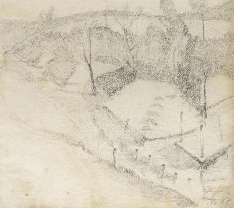 Leopold Buczkowski, Widok z cmentarza Tuniki, z cyklu: Rysunki z Podola, lata 30-te XX wieku