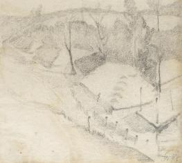 Widok z cmentarza Tuniki, z cyklu: Rysunki z Podola, lata 30-te XX wieku