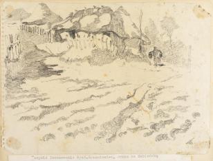 Krzemieniec, droga na Dubieńską, z cyklu: Rysunki z Podola, lata 30-te XX wieku