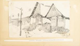 Uliczka Zaklasztorna (Krzemieniec), z cyklu: Rysunki z Podola, lata 30-te XX wieku