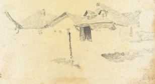 Pejzaż i uliczka na Czarnym szlaku, z cyklu: Rysunki z Podola, lata 30-te XX wieku