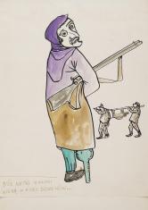 Bez tytułu (Gdy matki zwłoki wiozą w huku dzwonów...), z cyklu: Prace z motywami groteskowymi
