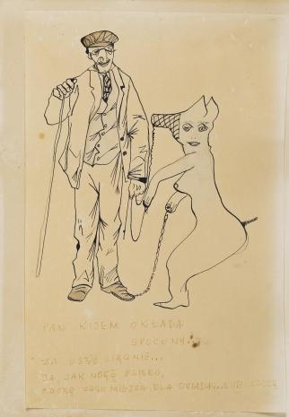 Leopold Buczkowski, Bez tytułu (Pan kijem okłada...), z cyklu: Prace z motywami groteskowymi