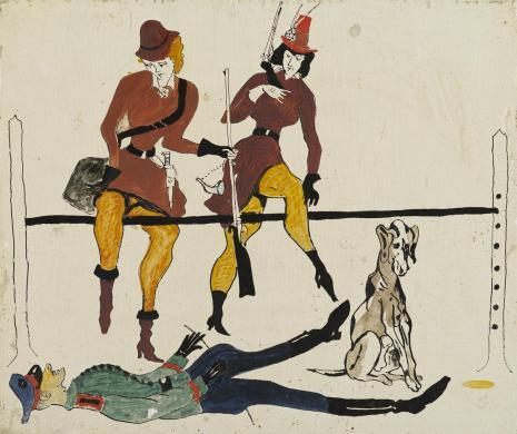 Leopold Buczkowski, Spotkanie po wojnie, z cyklu: Prace z motywami groteskowymi