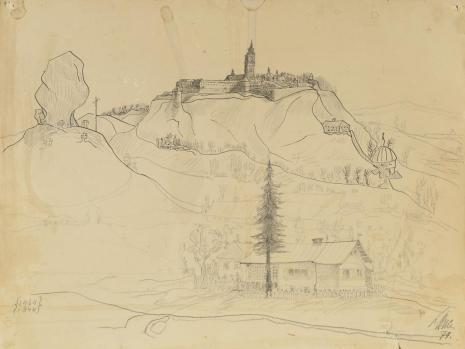 Leopold Buczkowski, Bez tytułu (Podkamień, miasto na górze, skała i dom rodzinny), z cyklu: Pejzaże