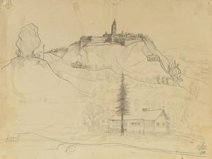 Bez tytułu (Podkamień, miasto na górze, skała i dom rodzinny), z cyklu: Pejzaże