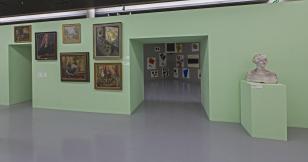 Rekonstrukcja fragmentu stałej ekspozycji w Miejskim Muzeum Historii i Sztuki im. J. i K. Bartoszewiczów (obecnie Muzeum Sztuki w Łodzi), lata 30. XX w.