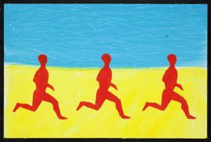 Projekt obrazu: Bieg czerwonych ludzi