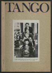 Okładka z napisem wielkimi literami, czarną czcionką Tango. Na środku naklejone jest czarno-białe zdjęcie 5 mężczyzn, kolejno siedzących sobie na barana. Są to bracia Marx, aktorzy komedii slapstickowej. Na dole kolumny doklejona jest głowa Karla Marxa.