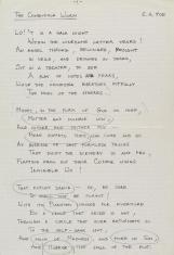 Zdjęcie rękopisu utworu The Conqueror Worm. Drukowane litery, czarny długopis, tekst po angielsku. Trzy zwrotki. Fragmenty zakreślone ołówkiem.