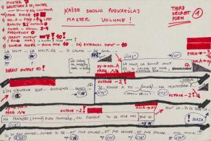 Strona partytury złożonej z trzech czarnych grubych poziomych linii i odręcznych napisów czerwonym flamastrem i czarnym długopisem.