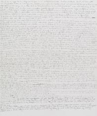 Pokryta gęsto drobnym odręcznym pismem biała kartka papieru. Zapis czarnym tuszem.