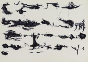 Na białym tle w czterech rzędach rozmieszczone po kilka czarne kształty o poszarpanych krawędziach, przypominające trochę ptaki w locie.