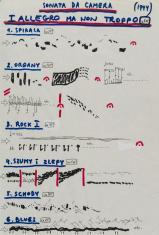 Na zdjęciu partytura utworu, odręcznie pisana i rysowana flamastrami w kolorach granatowym, czerwonym i czarnym.  Na górze tytuł, poniżej 6 punktów z rozwinięciem.
