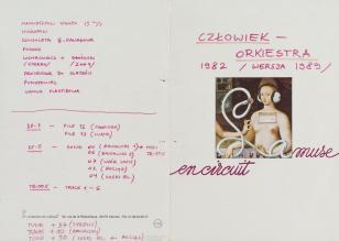 Zdjęcie kartki partytury utworu z m.in. zmodyfikowanym przez odręczne notatki fragmentem obrazu