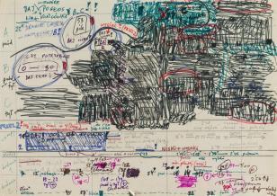 Zdjęcie odręcznej notatki kolorowymi flamastrami, łączącej elementy tekstu i rysunku. Część zajmująca prawy górny róg pokreślona, tworzy graficzną formę.