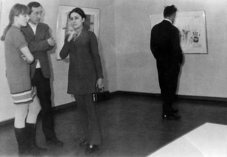 Od lewej Małgorzata Maria Wolańska [?], Tadeusz Wiktor Wolański (PWSSP w Łodzi), red. Henryka Rumowska (TVP)