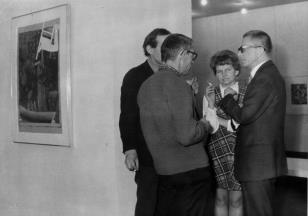 Prawej dyr. Ryszard Stanisławski, Janina Ładnowska (Dział Sztuki Nowoczesnej), Stanisław Fijałkowski