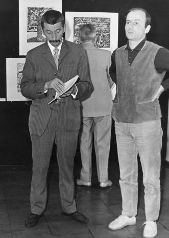 Benon Liberski (malarz, przewodniczący ZPAP w Łodzi), Bernard Kepler (dyr. BWA w Łodzi)