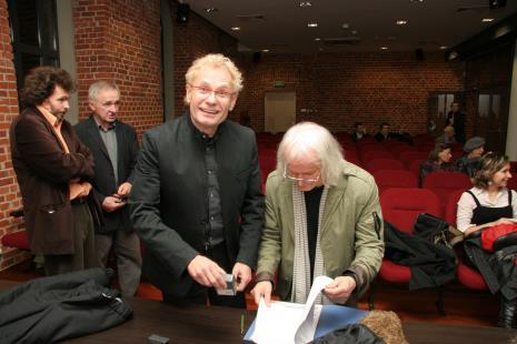 Na pierwszym planie Marek Janiak i Andrzej Kwietniewski (Łódź Kaliska)
