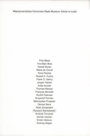 Profil kolekcji 1966 - 1991 : hommage à Ryszard Stanisławski : Muzeum Sztuki w Łodzi 20. XII.2001 - 17. II .2002