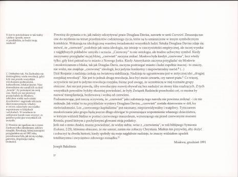 Douglas Davis : redness : czerwień : Muzeum Sztuki, Łódź, luty 1995