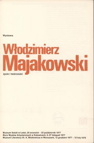 Włodzimierz Majakowski : życie i twórczość : wystawa