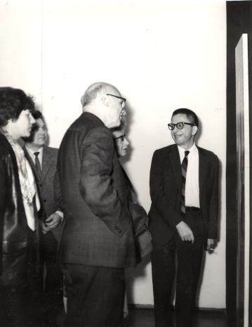 Od lewej red. Krystyna Tamulewicz (Polskie Radio), x, red. Mieczysław Jagoszewski (Dziennik Łódzki), red. Jadwiga Sakowicz (Głos Robotniczy), dyr. Ryszard Stanisławski