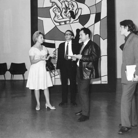 Od lewej Anna Łabęcka (Dział Sztuki Nowoczesnej), dyr. Ryszard Stanisławski, red. Henryk Pawlak (Express Ilustrowany), red. Gustaw Romanowski (Odgłosy)