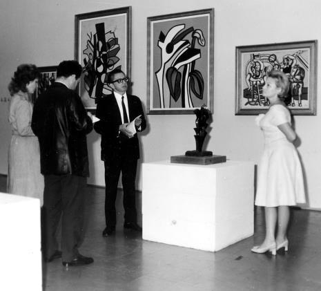 Od lewej red. Lucyna Hoszowska (Dziennik Łódzki), red. Henryk Pawlak (Express Ilustrowany), dyr. Ryszard Stanisławski (ms), Anna Łabęcka (Dział Sztuki Nowoczesnej)