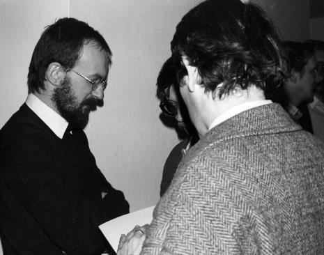 Witold Górka udziela wywiadu red. Pawłowi Tomaszewskiemu (Dziennik Łódzki), tyłem red. Gustaw Romanowski (Głos Robotniczy)