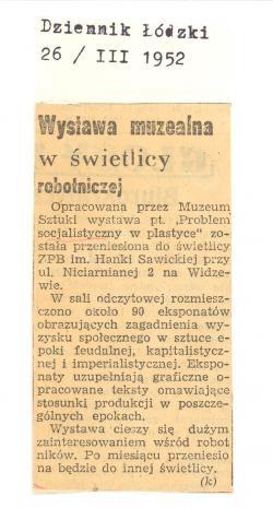 Wystawa muzealna w świetlicy robotniczej
