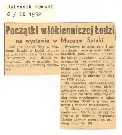 Początki włókienniczej Łodzi na wystawie w Muzeum Sztuki