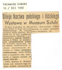 Dzieje tkactwa polskiego i łódzkiego. Wystawa w Muzeum Sztuki