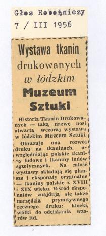 Wystawa tkanin drukowanych w łódzkim Muzeum Sztuki