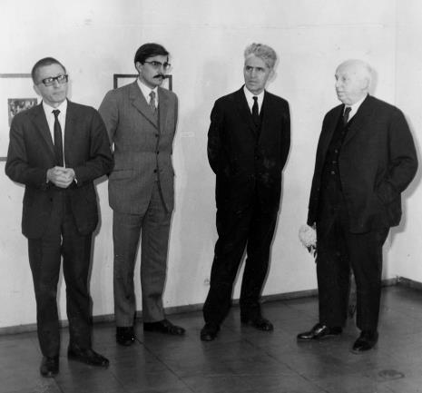 Od lewej dyr. Ryszard Stanisławski, x, x, prof. Juliusz Starzyński (Instytut Sztuki PAN w Warszawie)