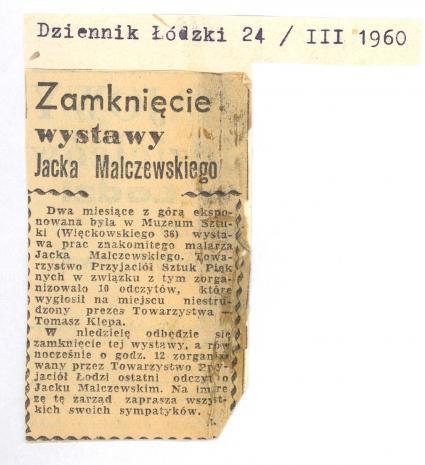 Zamknięcie wystawy Jacka Malczewskiego